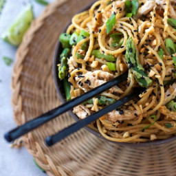 Sesame Noodles with Chicken and Asparagus ATK