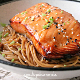 Sesame Noodles With Grilled Miso-Glazed Salmon