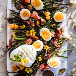 Sesame Roasted Asparagus, Egg and Bacon Salad
