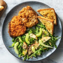 Shake It Up! Pork Cutlets with Garlic Bread and an Apple and Sunflower Seed