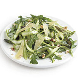 Shaved Asparagus Salad with Aged Gouda and Hazelnuts