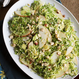 Shaved Brussels Sprouts Salad with Apples, Hazelnuts and Brown Butter Dress