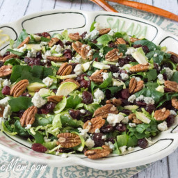 Shaved Brussels Sprouts, Spinach Pecan Salad with Bourbon Balsamic Dressing