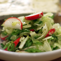 Shaved Celery, Fennel, and Radish Salad with Buttered Valdeon Toasts