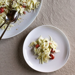 Shaved Fennel, Roasted Tomato and Pistachio Salad with Creamy Yogurt Dressi
