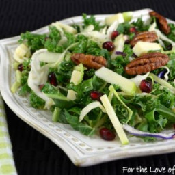 Shaved Kale and Brussels Sprout Salad with Pomegranate, Apple, Sharp Chedda