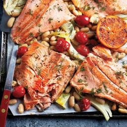 Sheet pan baked trout