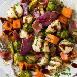Sheet Pan Chicken Sweet Potatoes and Brussels Sprouts with Bacon and Balsam