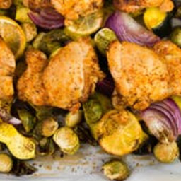Sheet Pan Chicken with Roasted Brussels Sprouts & Acorn Squash Dinner