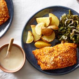 Sheet Pan Deviled Salmon with Roasted Potatoes & Meyer Lemon Sauce