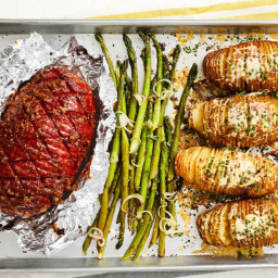 Sheet-Pan Ham, Asparagus and Hasselback Potatoes