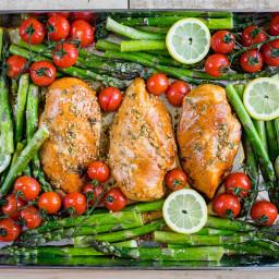 Sheet Pan Honey Garlic Chicken + Asparagus Recipe