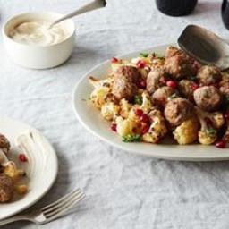 Sheet Pan Lamb Meatballs with Cauliflower and Tahini-Yogurt Sauce
