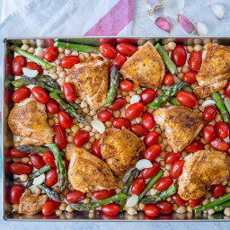 Sheet Pan Mustard Garlic Chicken + Chickpeas + Fresh Asparagus Recipe