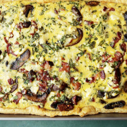 Sheet Pan Quiche With Mushrooms, Gruyere and Bacon