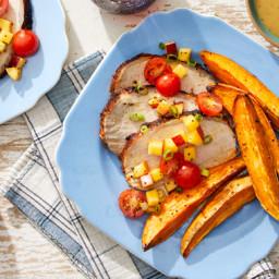 Sheet Pan Roast Pork & Sweet Potato Wedges with Peach-Tomato Salsa