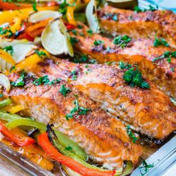 Sheet Pan Salmon Fajitas Recipe