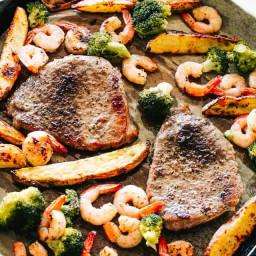 Sheet Pan Steak and Shrimp Dinner