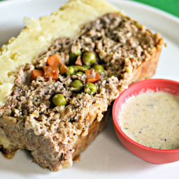 Shepherd's Pie Meatloaf With Parmesan Potato Crust and Stilton Sauce