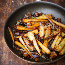 Sherry Roast Parsnips with Chestnuts & Honey