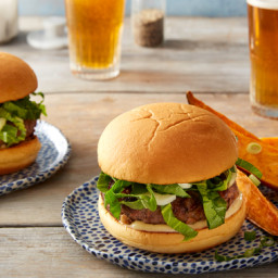 Shiitake & Hoisin Beef Burgers with Miso Mayonnaise & Roasted Sweet