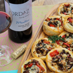 Shiitake, Onion, Pepper, and Manchego Tartlets