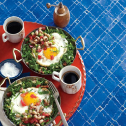 Shirred Eggs with Black-Eyed Pea Salsa and Collard Greens