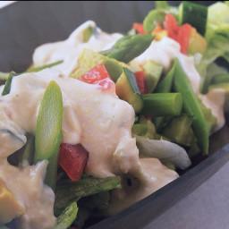 Shojin Salad with Peanut-flavoured Tofu dressing