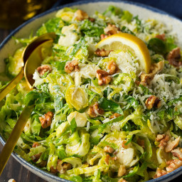 Shredded Brussels Sprout Salad with Romano Cheese, Toasted Walnuts and Lemo