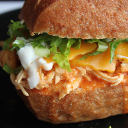 Shredded Buffalo Chicken Sandwiches (Crock Pot)