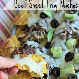 Shredded Beef Sheet Tray Nachos