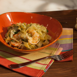 Shrimp and Artichoke Tagliatelle with Black Pepper and Pecorino