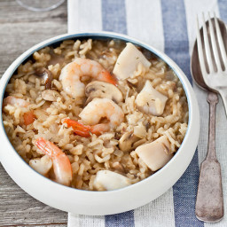 Shrimp and Bay-Scallop Risotto with Mushrooms