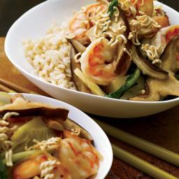Shrimp-and-Bok Choy Stir-Fry with Crispy Noodles