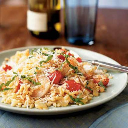 Shrimp and Orzo with Cherry Tomatoes and Romano Cheese