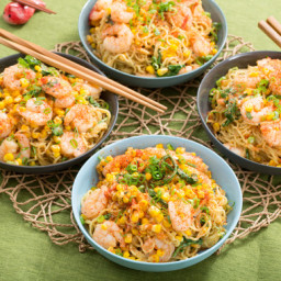 Shrimp and Summer Vegetable Mazemenwith Fresh Ramen Noodles and Miso-Soy Sa