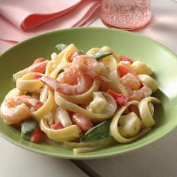 Shrimp and Vegetable Fettuccine Alfredo
