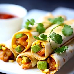 Shrimp, Avocado and Roasted Corn Baked Taquitos