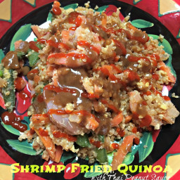 Shrimp Fried Quinoa with Thai Peanut Sauce