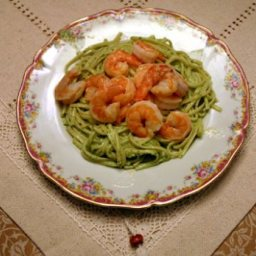 Shrimp Linguine in a Creamy Pesto Sauce