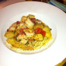 Shrimp Linguine with Artichokes, Lemongrass, Capers and Basil
