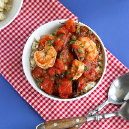 Shrimp Puttanesca Rice Bowl Recipe with Capers and Tomatoes