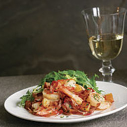 Shrimp Roasted with Potatoes and Prosciutto