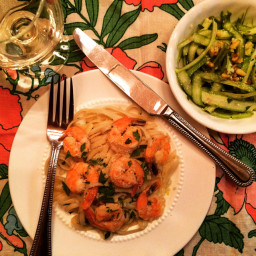 Shrimp Scampi Linguine with Shaved Asparagus Salad