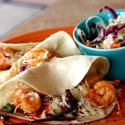 Shrimp Tacos with Sweet and Tangy Slaw