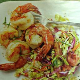 Shrimp with warm coleslaw