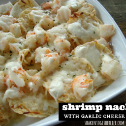 Shrimp Nachos with Creamy Garlic Cheese Sauce