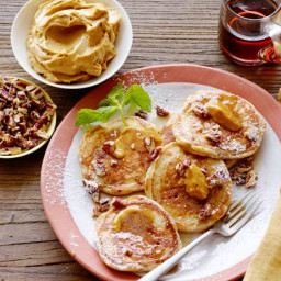 Silver Dollar Buttermilk-Pecan Pancakes with Bourbon Molasses Butter and Ma