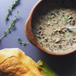 simple cream of mushroom soup with fresh herbs