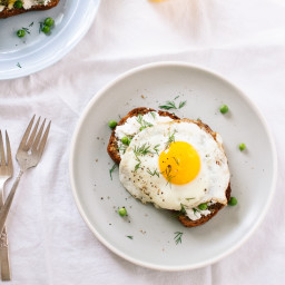 Simple Goat Cheese and Egg Toasts with Peas and Dill